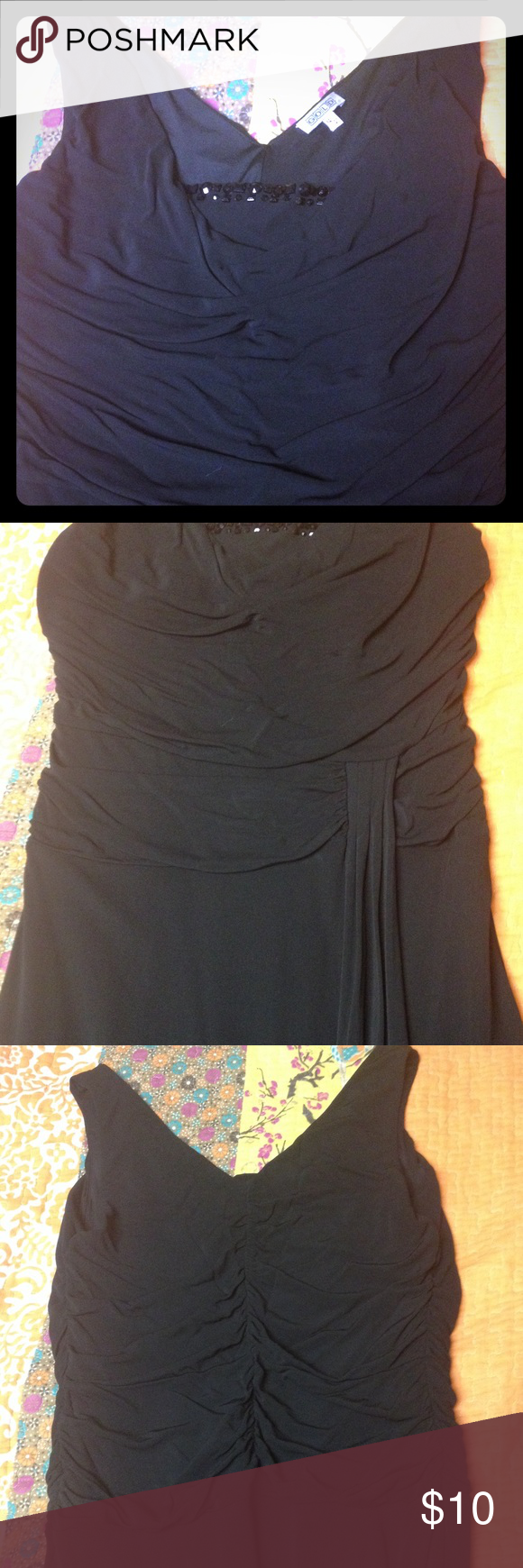 Black Cocktail Dress By the brand Gold. Very comfortable black dress. Small slit in front. MIDI length. 100% viscose. GOLD Dresses Midi