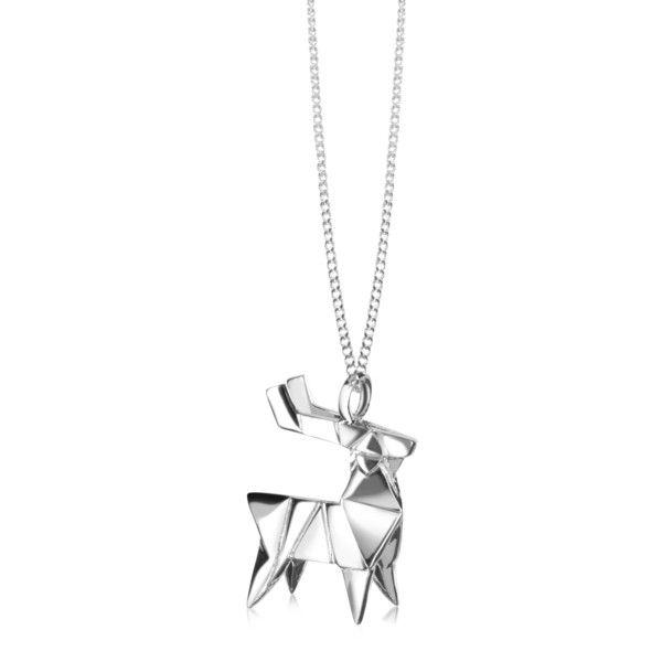 Origami Jewellery Sterling Silver Deer Necklace ajRNV