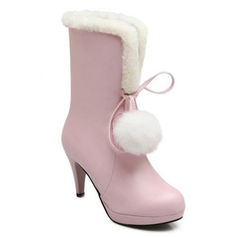 official for sale Pompon Cone Heel PU Leather Mid Calf Boots - Pink 39 new cheap online QdQFs78