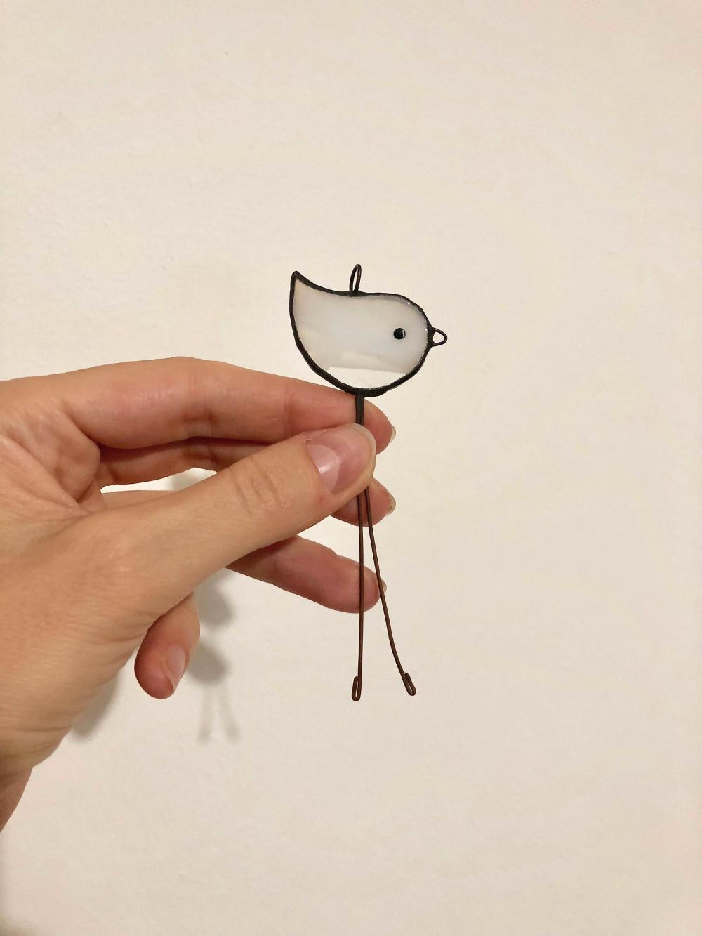 Small Bird Stained Glass Art Suncatcher Bird Figurine Bird Home decor White chicken art Stain Glass baby Chicken outside Decor Baby bird #smallbirds