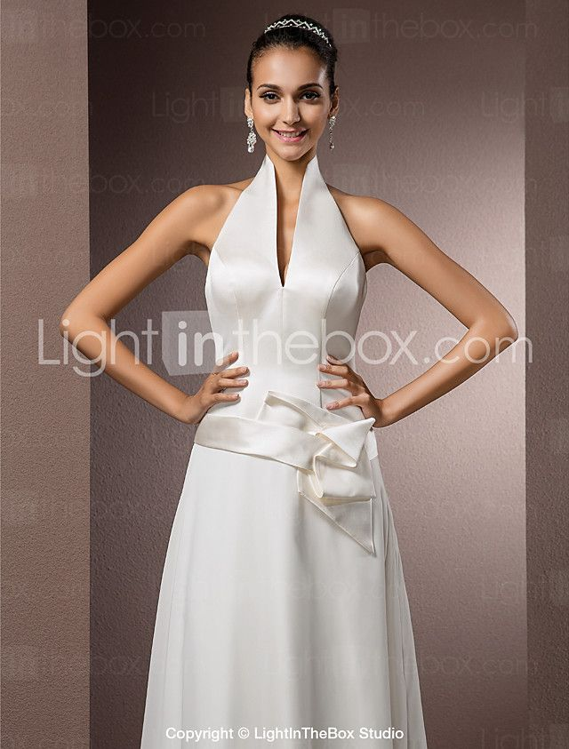funda / columna halter hasta el suelo raso / satén vestidos de novia