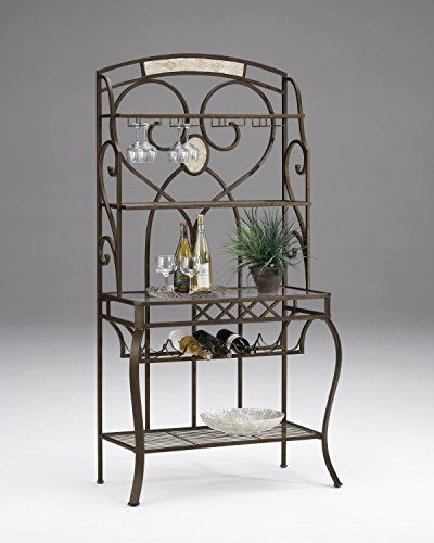 Best Wine Rack Hillsdale Brookside Bakers Rack Brown With Fossil
