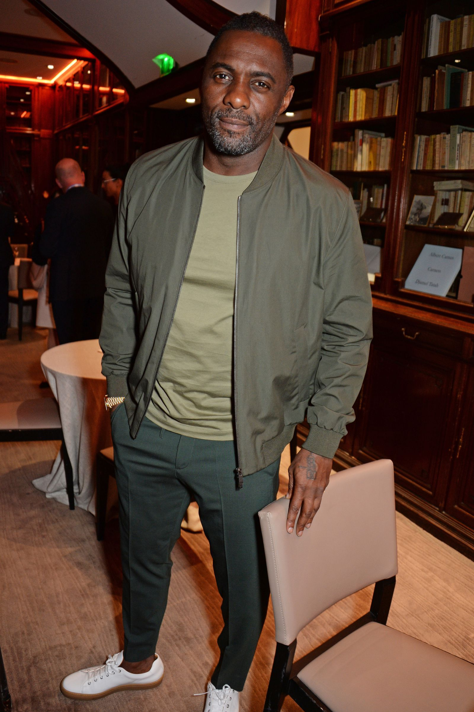 Khaki Green Bomber and Crew Neck T-Shirt with Khaki Green Dress Trousers  and White Leather Gum Sole Sneakers f01c965ea
