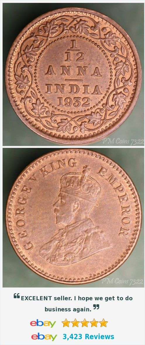 1932 George V India 1/12 Anna, excellent coin, 17mm [7322] | Coins ...