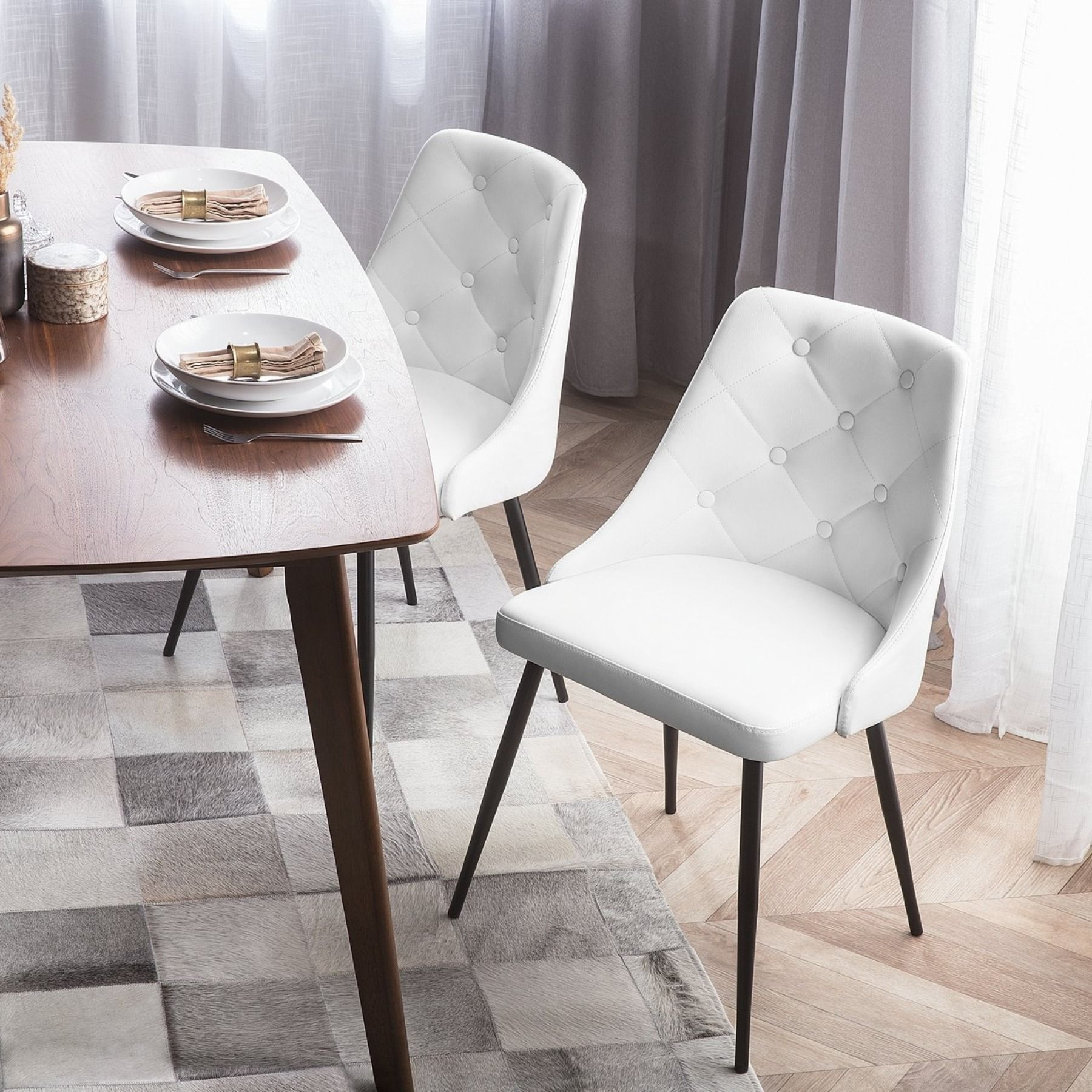 Set Of 2 Dining Chairs Faux Leather White Valerie In 2020 Dining