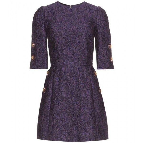 Dolce & Gabbana Brocade Dress ($1,555) ❤ liked on Polyvore featuring dresses, short dresses, vestidos, purple, brocade cocktail dress, purple cocktail dresses, mini dress and brocade dress