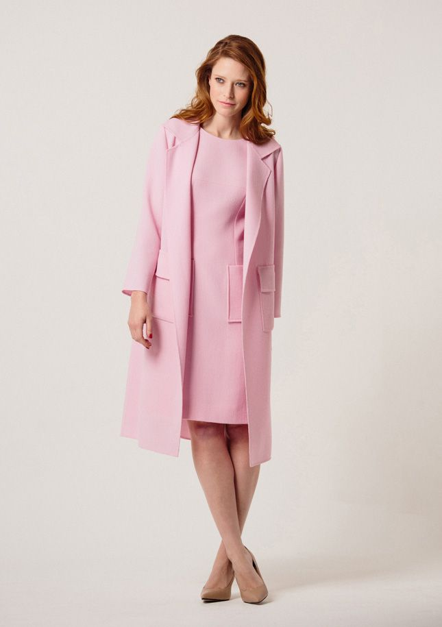 Pale pink wool crepe dress and coat with patch pockets. Available at ...
