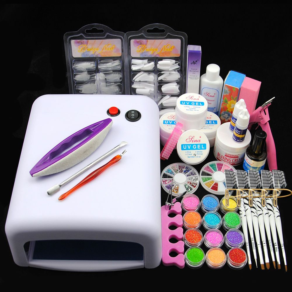 Pro 36W UV Dryer Lamp Glitter Powder French Nail Art Tips Gel Tools DIY Kit Set #Unbranded