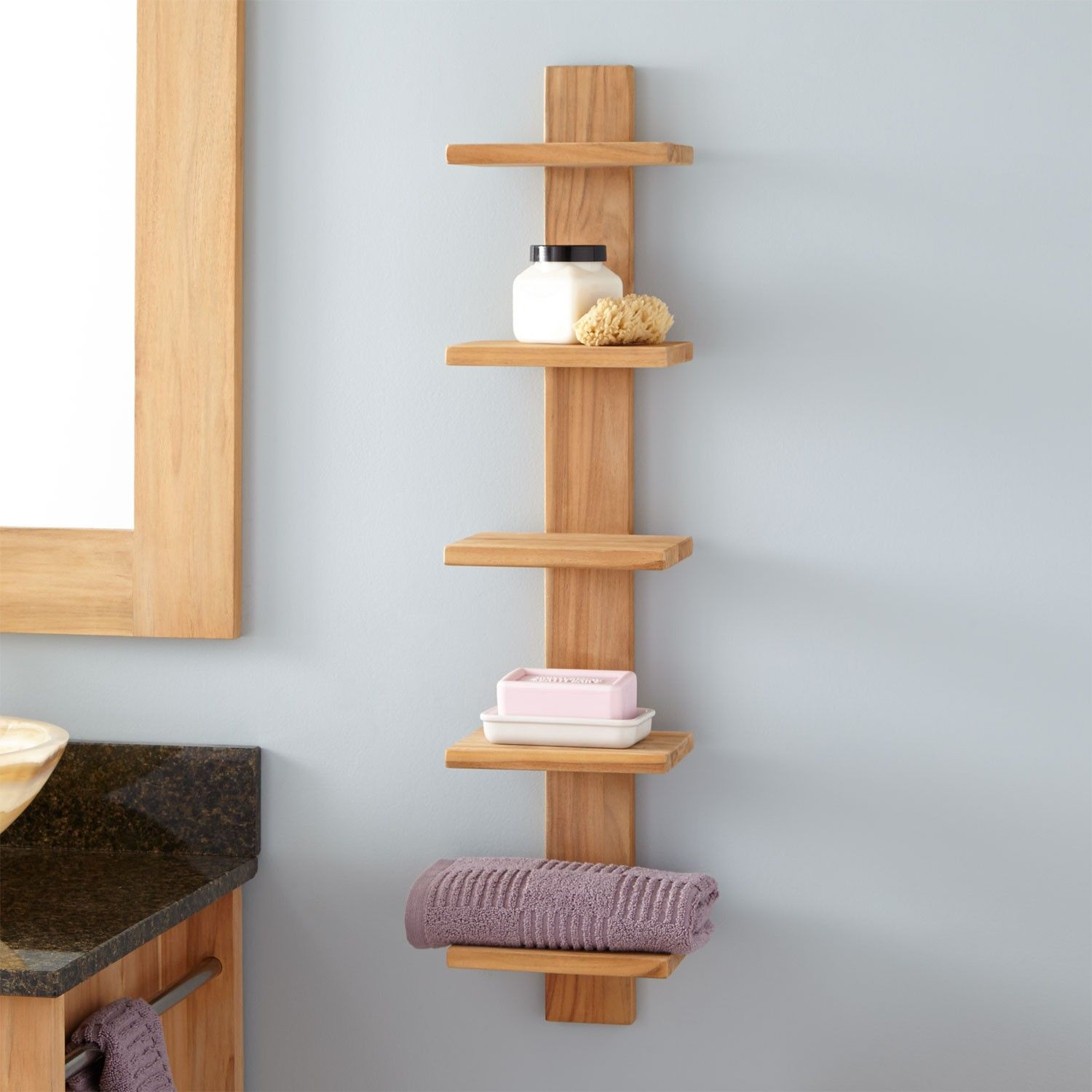 Bastian Hanging Bathroom Teak Shelf Five Shelves Bathroom Diy Wooden Shelves Teak Bathroom Bathroom Wall Shelves
