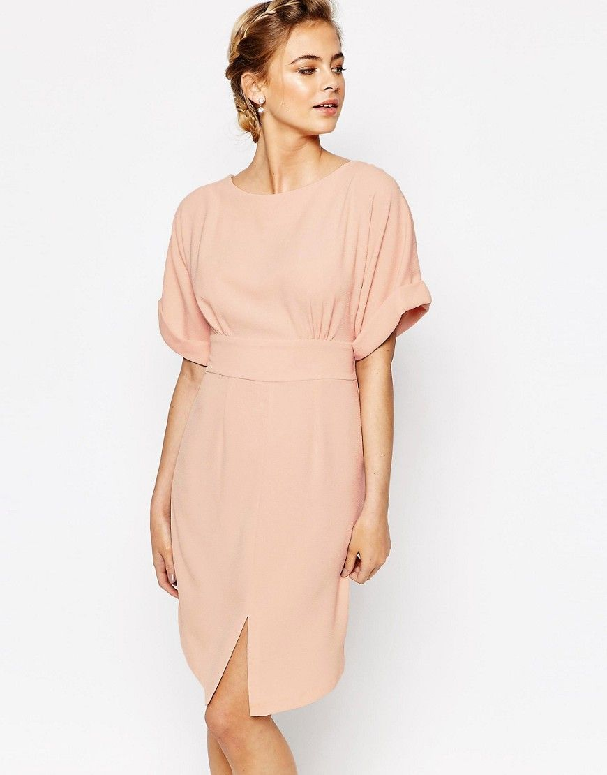 Closet kimono sleeve midi dress with tie back detail and split front