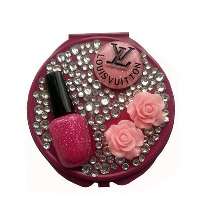 Specchietto da borsetta compatto make up strass smalto idea regalo - PEZZO UNICO!