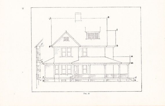 1907 architecture house print vintage antique art illustration 1907 architecture house print vintage antique art illustration blueprint drawing interior design great for framing malvernweather Choice Image