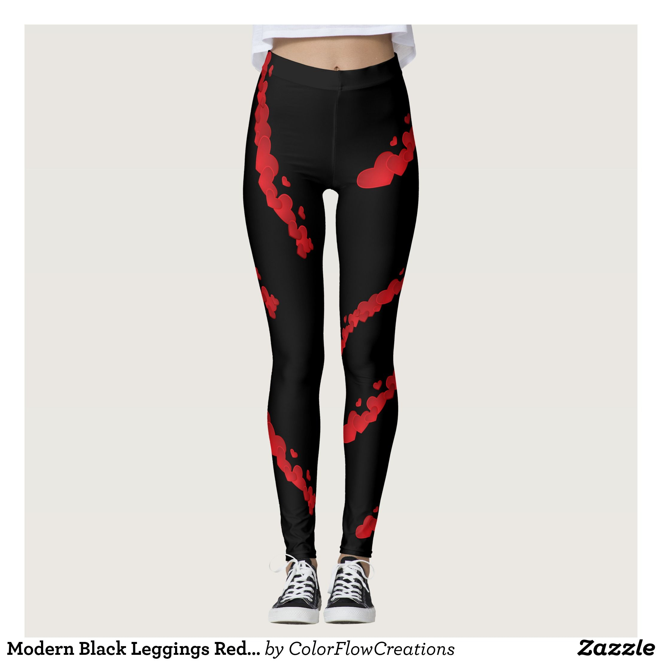 739114495d8f5e Modern Black Leggings Red Hearts Lines Valentine : Beautiful #Yoga Pants -  #Exercise Leggings and #Running Tights - Health and Training Inspiration ...