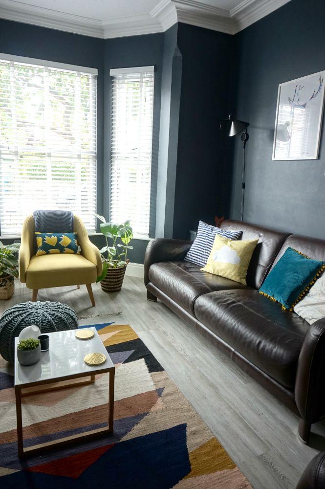 Living Room Makeover Reveal Plus Video Room Tour | Dark walls ...