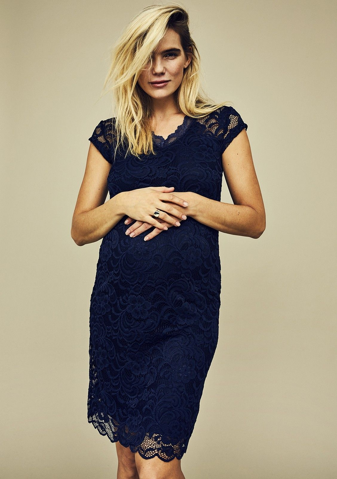 Zwangerschapskleding Feestkleding.New Mivana Cap Dress Dark Blue Zwangerschapsjurk Bruiloft Cap