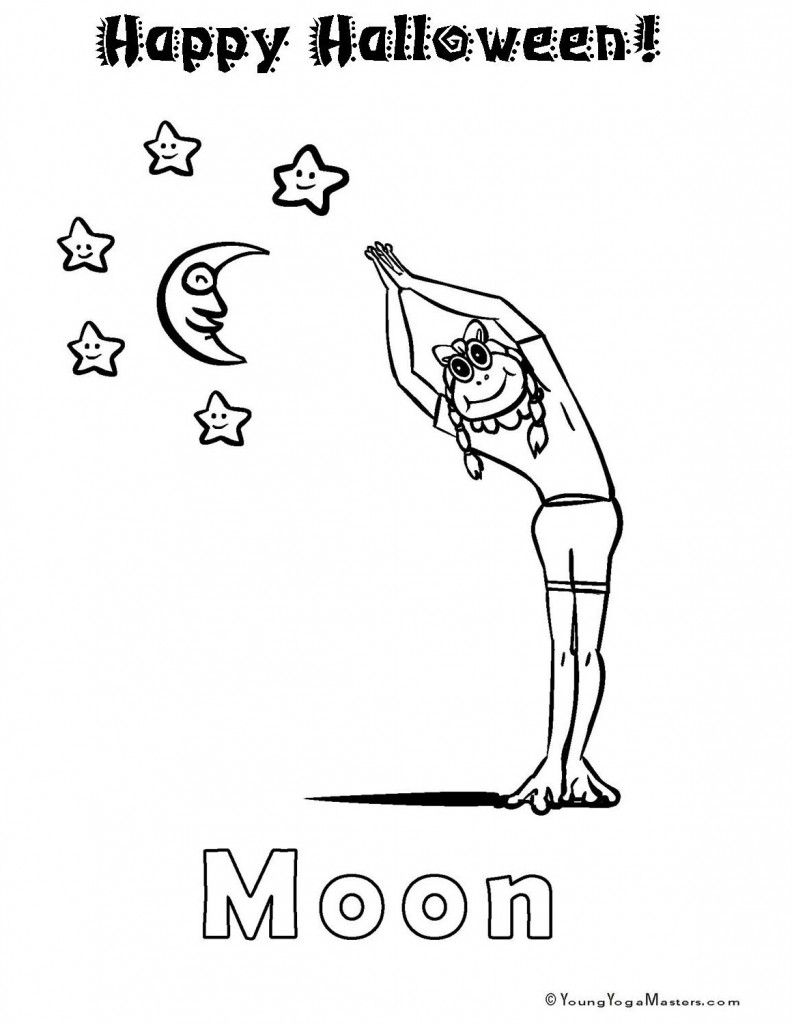 Free Yoga Colouring Page Pdf To Hand Out For Halloween Yoga For Kids Kids Yoga Poses Yoga Coloring Book
