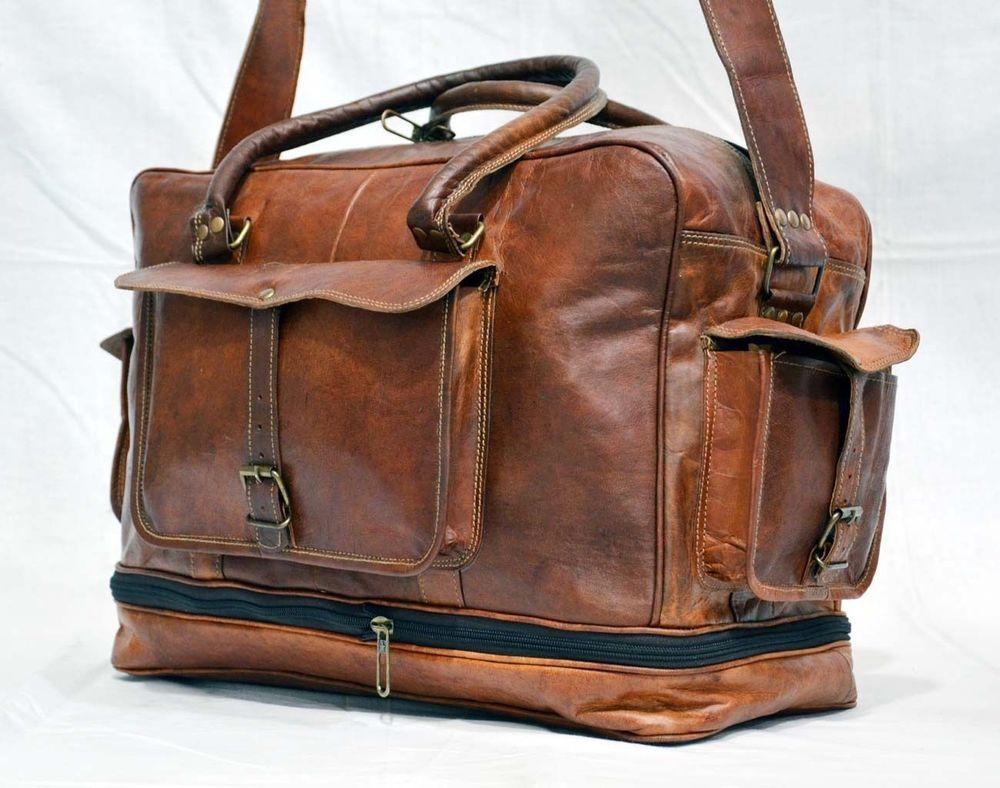 Large New Men/'s duffel genuine Leather vintage travel gym weekend overnight bag