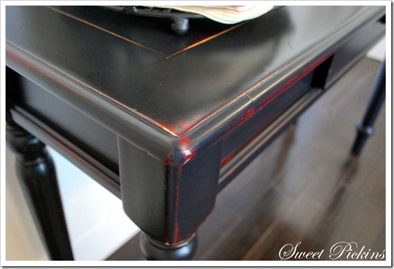Attirant ... And The Wood Was Already Stained I Started Off By Painting The Table Red  (sorry No Pic). Then, When That Was Dry, I Painted The Table Black ...
