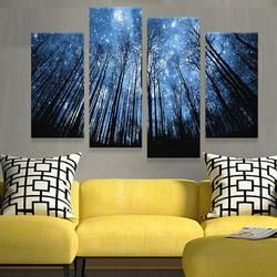 STARRY SKY FOREST 4 PANEL CANVAS