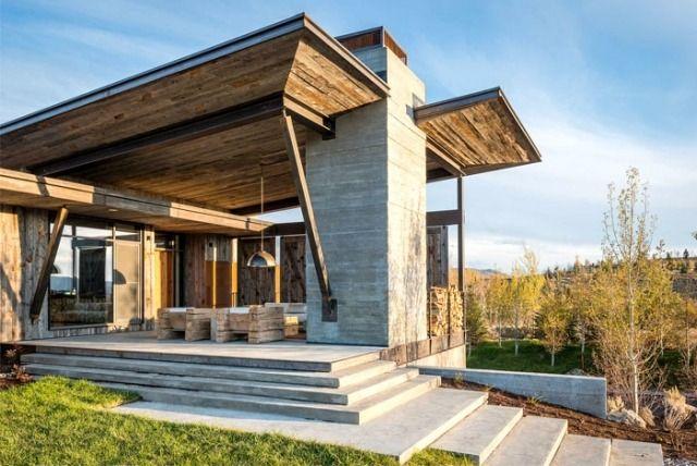 Modernes Haus In Den Bergen Stein Holz Veranda Ogdenholt