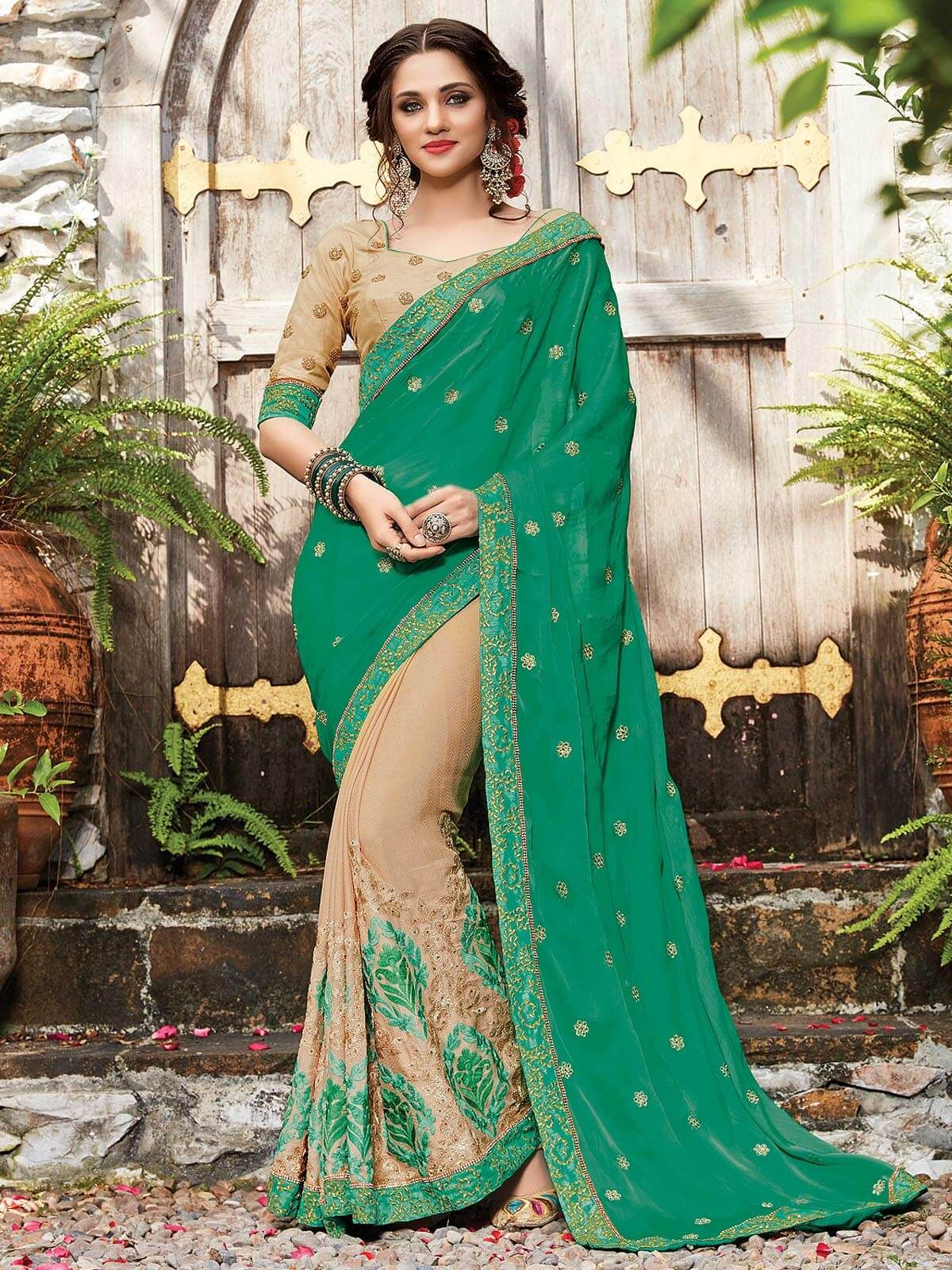 Captivating beige and green ceremonial wear embroidered designer