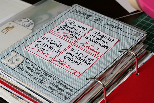 """Opening page for 19th - I used patterned paper and with a sharpie marker I made the outline like Ali's overlay page with titile and bottom journaling space. I then attached Ali's Advent Action cards - with our """"let's do"""" things that we have been doing the last couple of days."""