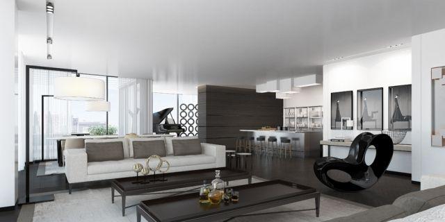 Wohnzimmer Farben Wirken Als Harmonische Einheit Stylische Kontrase In  Schwarz Weiß