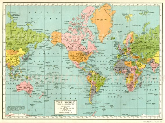 Vintage map of the world original vintage maps originals and vintage map of the world original gumiabroncs Image collections