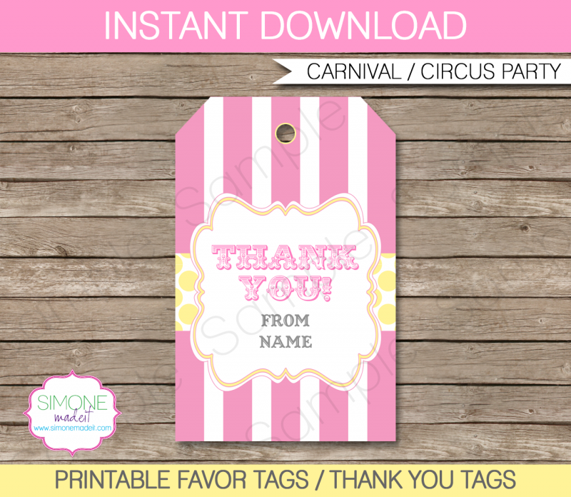 carnival party favor tag template pink yellow pinterest