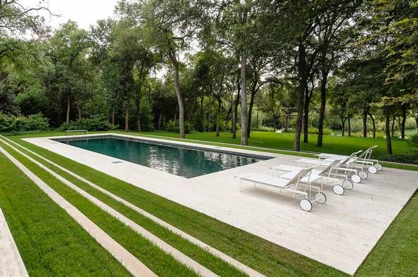 My DREAM pool! Modern in every meaning of the word, this rectangular pool with mix of clean concrete and lush grass would be perfect in our backyard :)