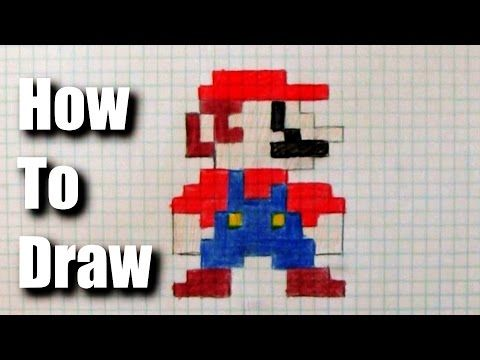 How To Draw 8 Bit Mario Youtube On Graph Paper Drawings
