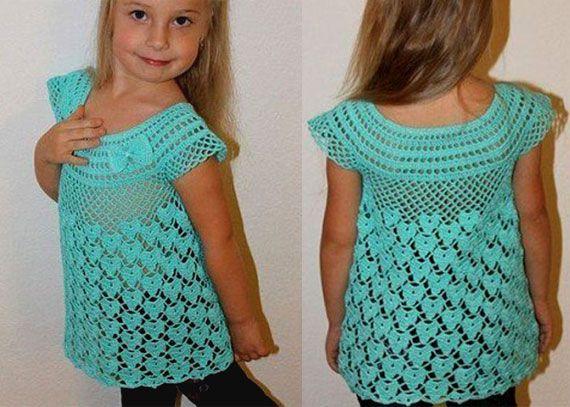 Схема вязания крючком платья для девочек 1 фото 721