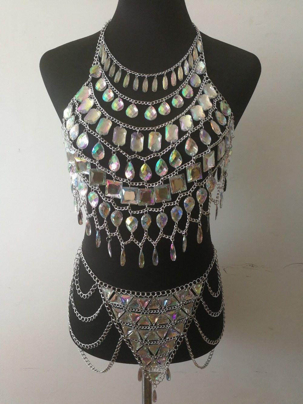 Crystal Goddess Bejeweled Bralette And Skirt  Body Chain, Crystal Goddess, Bling Bra