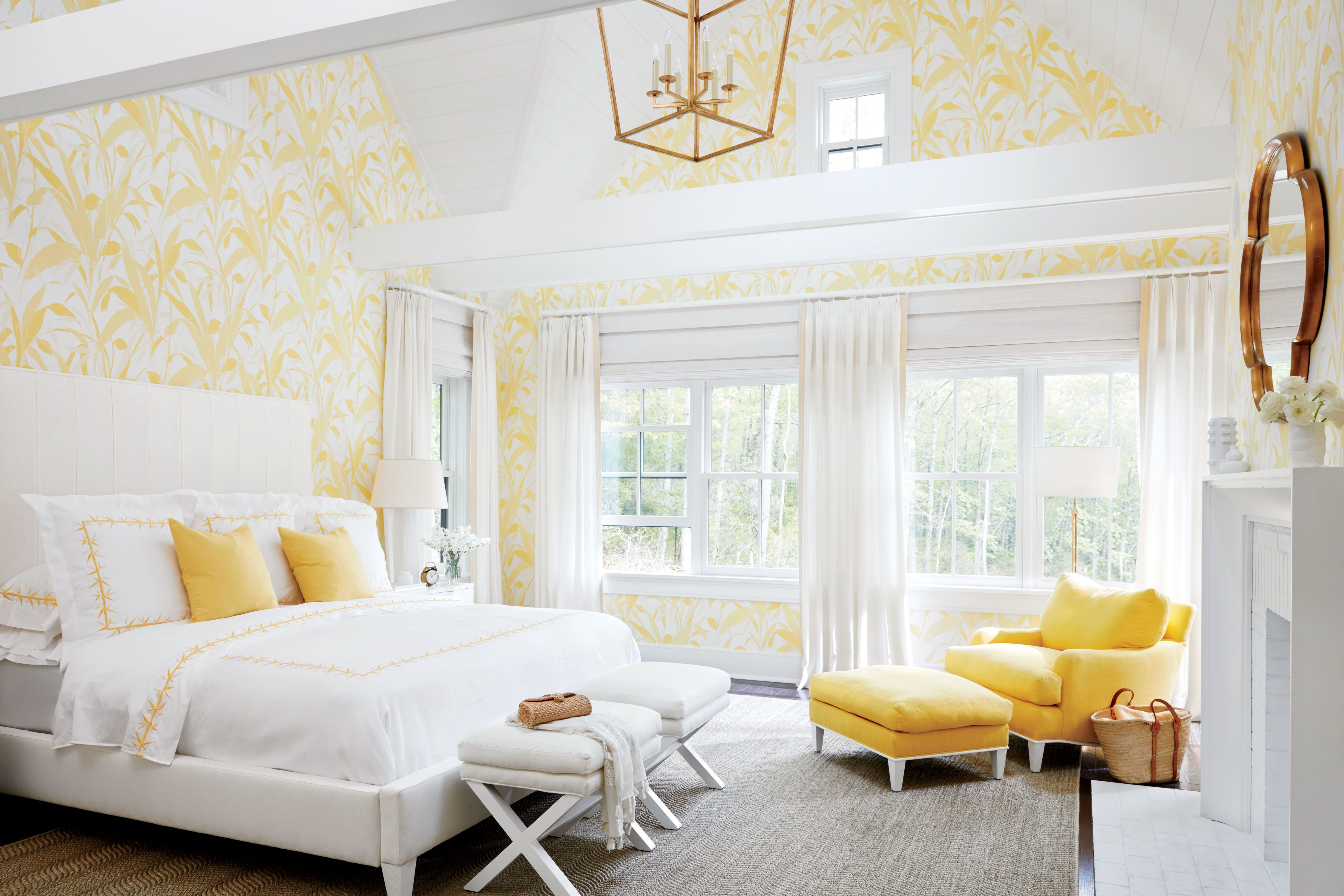 The Master Bedroom Is A Grand 19 Feet By 21 Feet With A Soaring 18 Foot Cathedral Ceiling So Balducci Yellow Bedroom Decor Yellow Bedroom White Master Bedroom