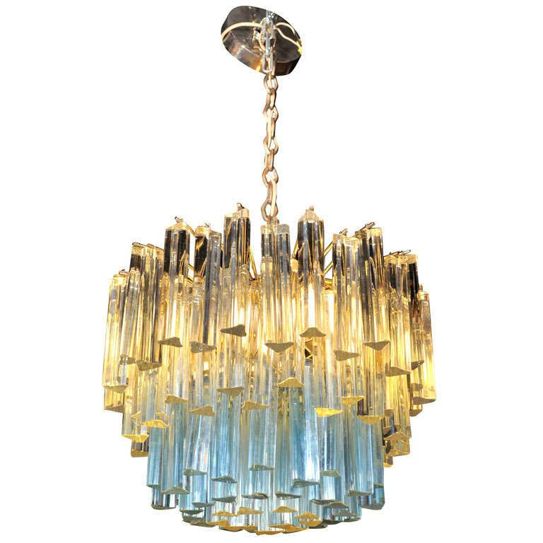 Murano Glass Chandelier With White And Blue Crystals By Camer