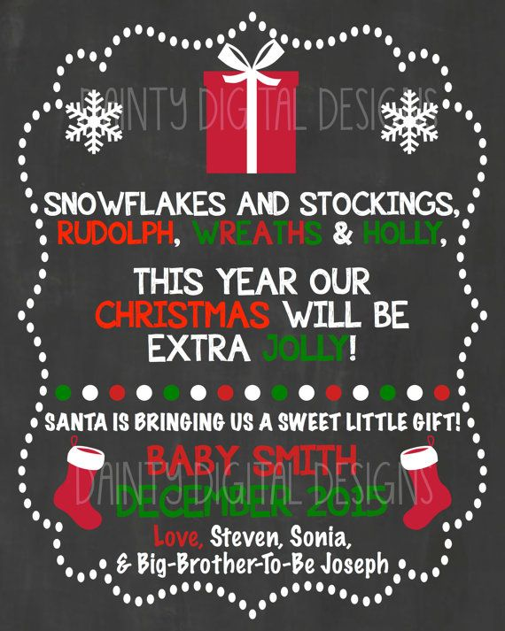 Christmas Pregnancy Announcement INSTANT DOWNLOAD Printable PDF with Editable Text Santa coming to town Photo Prop AN02L 8x10 Sign