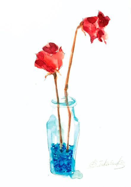 ドライフラワー芳香剤バラ瓶高塚由子yoshikotaaktsuka水彩画