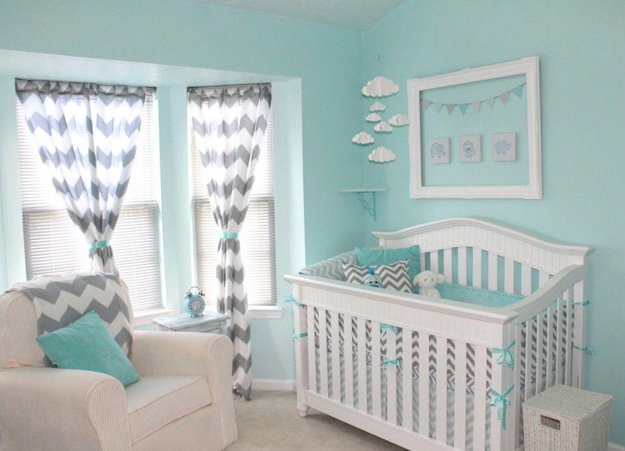 Dormitorio bebe en verde agua marina y blanco infantil for Dormitorios verde agua