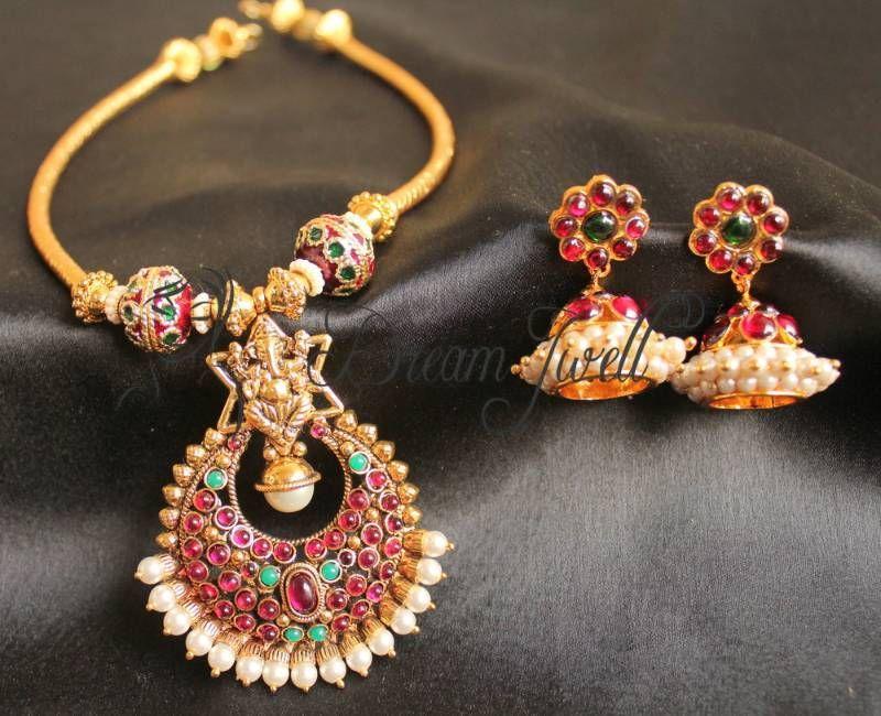 Gorgeous traditional kemp stone ganesha necklace set | Antique ...