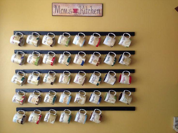 How to display starbucks mugs google search diy home for Coffee mug display rack