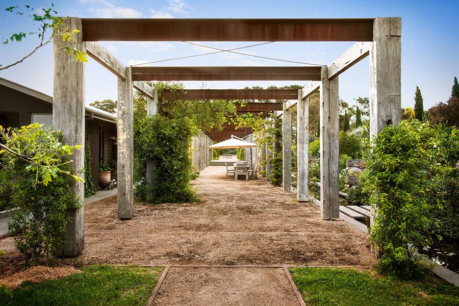 Recycled ironbark and steel freestanding pergola gardens decks