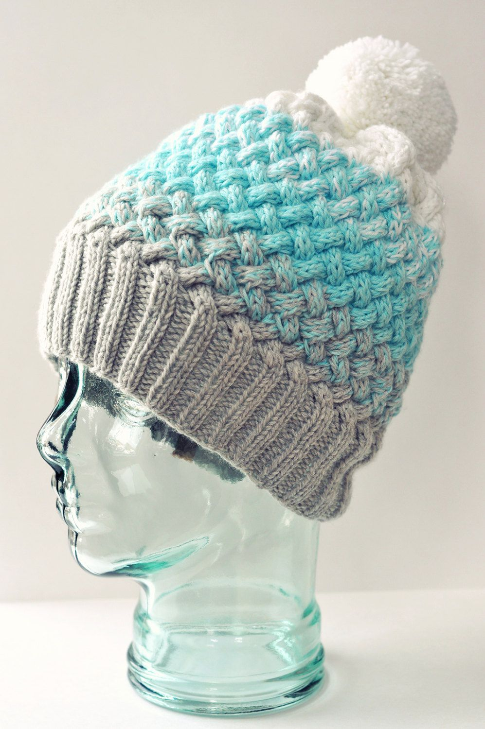 Ombré CABLE Knit Hat | PATTERN ONLY | mixx Woven Ombré Hat | Slouchy ...