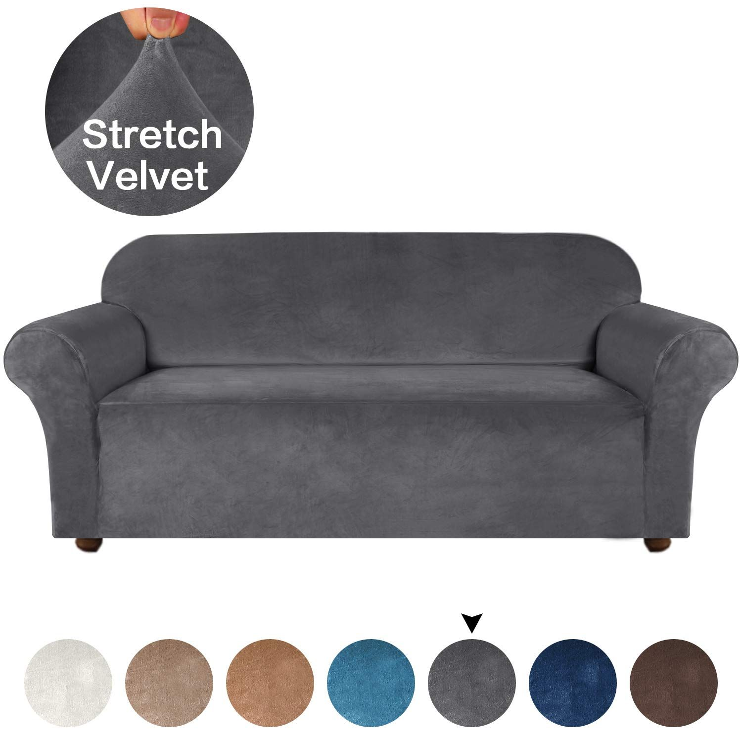 Amazon Com Velvet Plush Couch Cover For Sofa Slipcover Stylish Luxury Furniture Covers 1 Piece Furniture Protector Wash In 2020 Slipcovered Sofa Plush Sofa Slipcovers