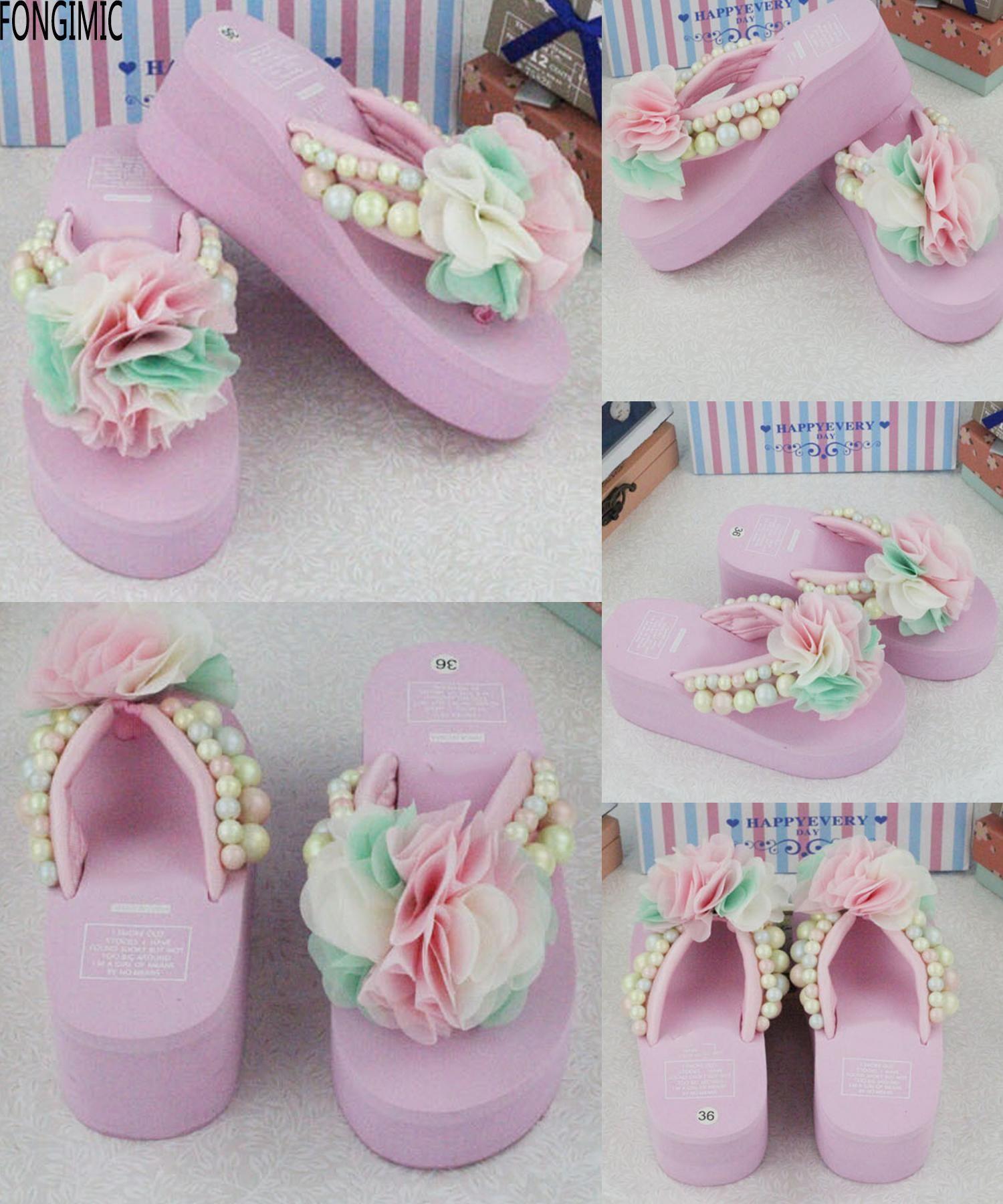 dfdcfecc8897d  Visit to Buy  Top sale women fashion handmade flower flip flops ladies all  match
