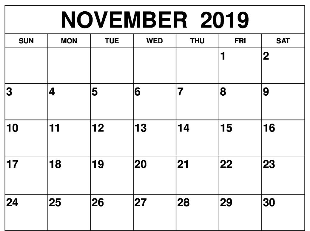 Fillable November 2019 Calendar Template Printable Calendar Template Calendar Template Calendar Printables