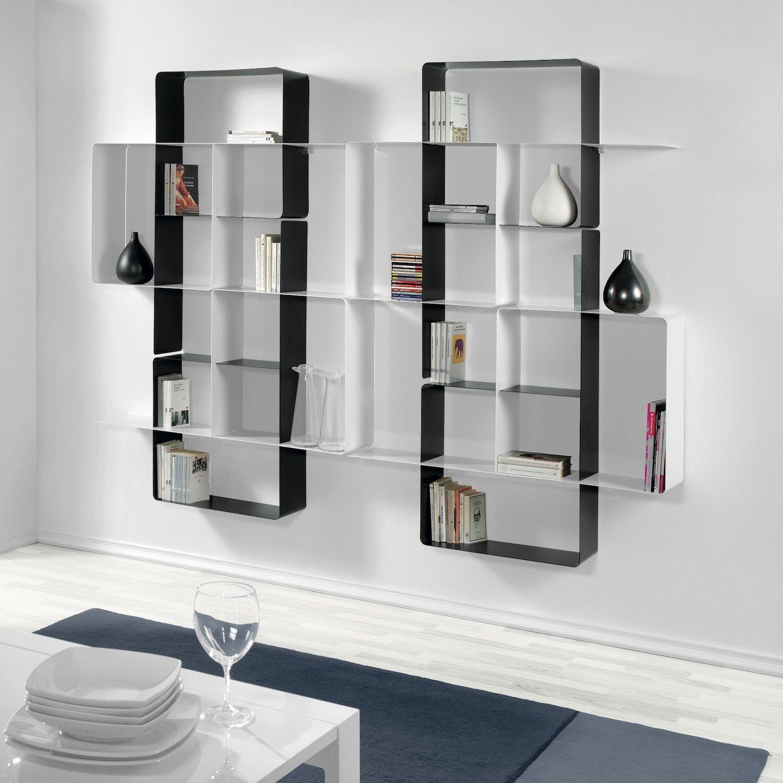 Libreria Profondità 15 Cm scaffale libreria da parete in acciaio 230 x 180 cm mondrian