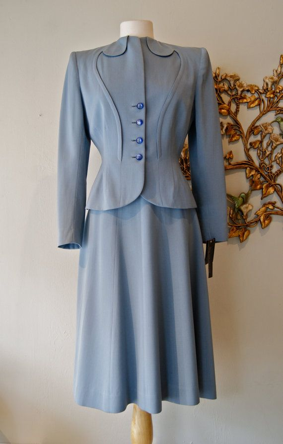 40s Suit / Vintage 1940s Slate Blue Womens Wool Gabardine Suit by Swansdown New York Size S. $175.00, via Etsy.