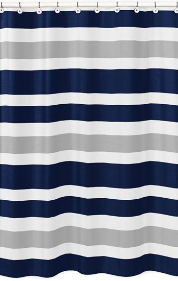 Modern White, Navy and Gray Stripe Bathroom Fabric Bath Shower ...