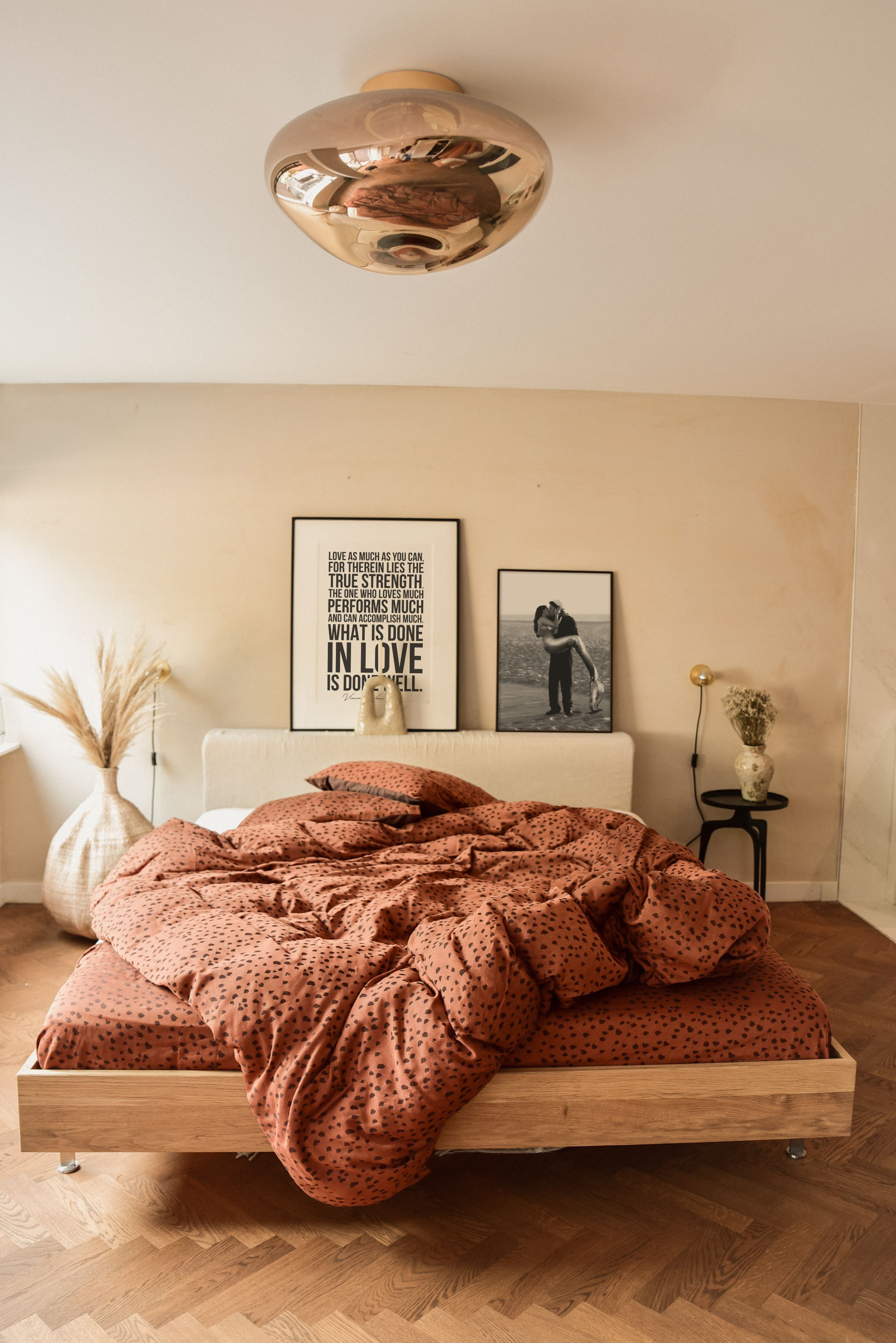 Photo of burnt orange bedroom copper, ceiling light, mermaid kiss, what is done in love is done well print