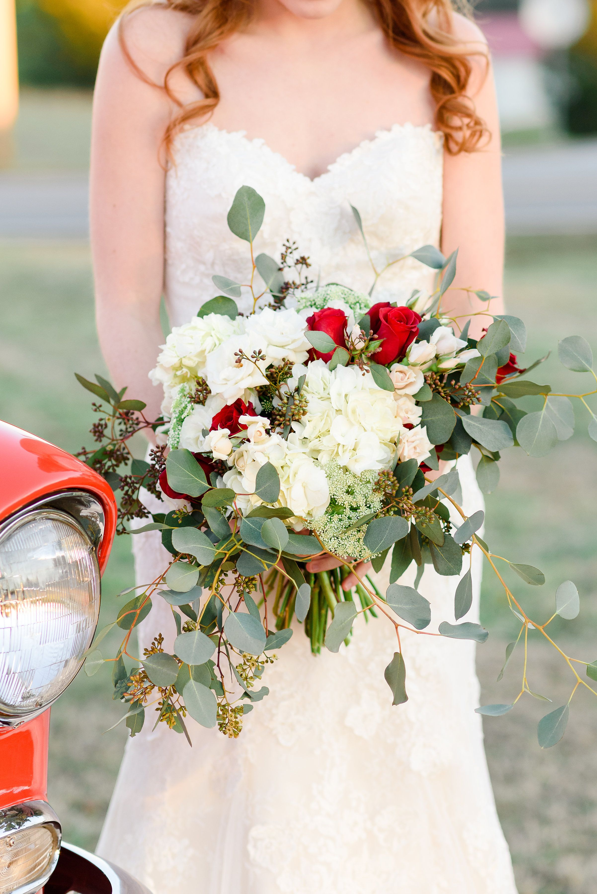 White Hydrangeas Red Roses And Majolica Spray Roses In A Bridal Bouquet With Seeded Eucalyptu White Hydrangea Wedding White Bridal Bouquet Red And White Roses [ 3600 x 2403 Pixel ]